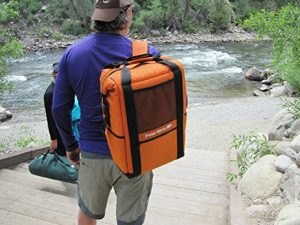 Orange Cooler Packback In Use